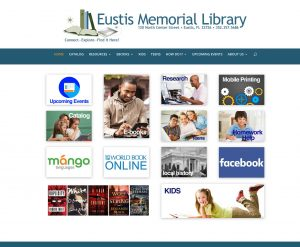 Eustis Memorial Library Screenshot of Homepage